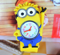Wholesale New slap watch d Eye Despicable Me minion Precious Milk Dad Children Watches Slap Snap On Silicone Quartz Wrist Watch