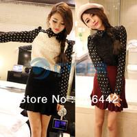 Women Cotton Round 2013 Korea Women's Blouse Splicing Polka Dots Long Chiffon Sleeve Shirt Casual Coat Outerwear Free Shipping 9419