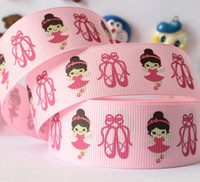 Wholesale 10yards quot mm pink pretty ballerina shoes printed gift ribbon package DIY gift polyester grosgrain ribbon