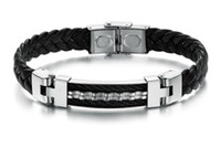 Wholesale N816 Free ship Men s Jewelry Stainless steel Bracelet black leather black silver mm cm