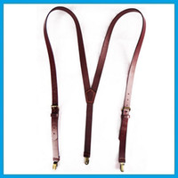 Wholesale Classics male pants suspenders Y shape shoulder tape clip suspenders genuine leather suspenders for men