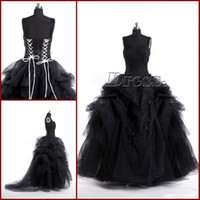 Wholesale Actural Picture Custom Made Black Corset Hand Made Flower Floor Length Ball Gown Gothic Wedding Dresses Vintage Bridal Gowns