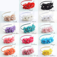 Hair Sticks ballerina headbands - Ribbon Covered Metal Headbands with Triple Chiffon Flowers Solid Ballerina Blossom Scalloped with Rhinestone Buttons