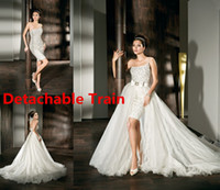 Ball Gown Reference Images One-Shoulder Detachable Train Skirt One Shoulder White Ivory Short Mini Demetrios Wedding Dress Formal Bridal Gown AQ2179