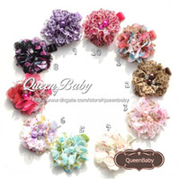 "Barrettes Blending Floral Trial Order Handmade New 2"" Floral Print Chiffon Flower with Matching Pearl Center hair Clip 50PCS lot QueenBaby"