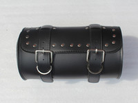 Wholesale Motorcycle Motorbike Round Leather Head Bag Saddle Bag Saddlebag Travel Luggage For Harley Black