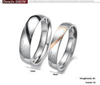 Wholesale Lover s Heart Shape Titanium Stainless Steel Promise Ring Couple Wedding Band with Engraved Heart and quot Real Love quot