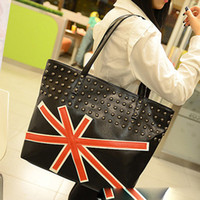 Wholesale Personalized UK Flag Rivets Shoulder Bag Totes Cross Body Korean Fashion Handbags Large Shopping Bags For Women YB1139