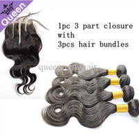 Body Wave Brazilian Hair 4X4 Free Shipping three 3 part lace top closure with 3 bundles unprocessed brazilian virgin hair body wave closures bleached knots