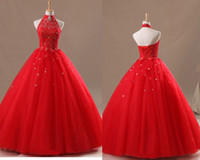 Wholesale 2014 Chinese Red High Collar Lace Crystal Beads Bandage Back Tulle Ball Gown Wedding Dresses Floor Lenght Custom Made
