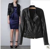Jackets Women Leather_Like 2013 New Fashion Autumn Winter Women Brand Faux Soft Leather Jackets Pu Black Blazer Zippers Long Sleeve Coat Free Shipping
