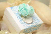 Cheap 50Pcs Lot Sweet Flowers With Lace Wedding Favor Holders Gift Boxes