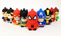 Wholesale Genuine GB GB GB GB GB Cartoon Super Hero USB Flash Drive Memory Stick Pen Drive by DHL EMS US0388
