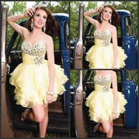 Reference Images Sweetheart Organza Fairy Fashion Girls Dresses Above Knee Organza Custom Made Beaded Made In China Short Prom Dress DP352