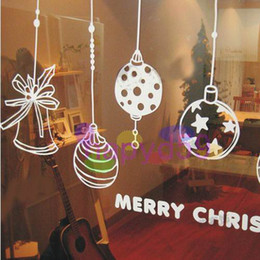 Wholesale Christmas bell wall stickers shop window stickers decorative glass door sticker decorations props removable multicolor can be customized