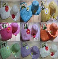 Wholesale Straw Baby Sun hat with Bag Set Kids Summer Hat Big Brim Sunbonnet Baby Hat Multistyles T9971