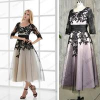 Wholesale Real picture Pink purple blue black lace Black Appliques tea length mother of the bride dresses plus size