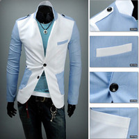 Jackets Men Polyester Men's Casual Slim Fit Two Button 2 Color Fashion Suit Blazer Coat Jackets M