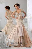 Wholesale 2014 New Arrival Sexy One Shouler Evening Dresses Appliqued Crystal Long Sleeves Illusion Champange Taffeta Mermaid Prom Clothers BO3083