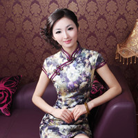 Wholesale 2013 promotion thicken style Women cotton slim sexy Chinese cheongsam middle length low slits daily wear qipao dress zentai size