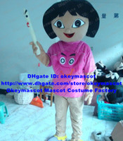 Wholesale Explorer Girl Dora Mascot Costume Fancy Dress Cartoon Character Mascotte Suit No
