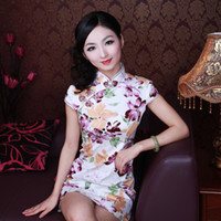 Wholesale retro style Women cotton slim sexy Chinese cheongsam mini skirt no slits daily wear qipao dress zentai size