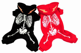 lovely fashion cool skeleton charger autumn winter dog pet clothes coat red black XS-XL for Christmas Halloween party