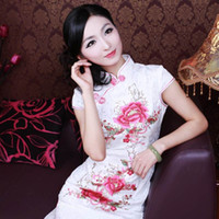 Wholesale Hot sales Women cotton lace mosaic slim sexy Chinese cheongsam middle length no slits daily wear qipao dress zentai size color