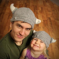Wholesale 10Pcs Newborn Baby Cute Handmade Crochet Lael Viking Hat Children Knit Hat Photography props Kids Xmas Party Ox horn Wool Cap