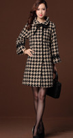 Wholesale Simple and fashion winter coats Women s Clothing HOUNDSTOOTH Plaid long sleeve plus size women s coat colors