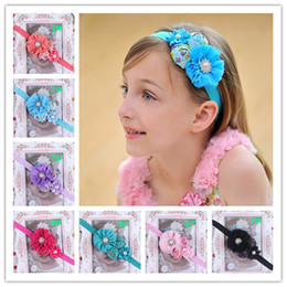 Wholesale Baby Rose Flower Headbands Girl Printed Headbands Children Hair Accessories Pearl Flower Hairbands Kids Hair Ornaments Photography Props