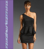 Casual Dresses One Shoulder Knee Length Mixed Colors High Quality N2745 M,L Classic Sexy Single-shoulder Peplum Dress Black Mini Dress
