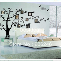 Removable PVC People Fast Shipping XXL Size 200*250CM Family Picture Photo Frame Tree Wall Quote Art Stickers Vinyl Decals Home Decor