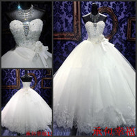 Wholesale 2014 New Sweetheart Flowers Crystals Beaded Lace Ball Gown Sleeveless Floor length Wedding Dresses Bridal Gowns