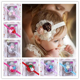 Wholesale Baby Triple Rose Headbands Girl Pearl Diamond Headbands Children Hair Accessories Flower Hairbands Kids Hair Ornaments Photography Props