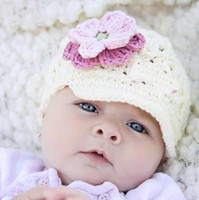 Unisex Winter Crochet Hats Lovely Crochet Baby Flower Hat Hand Knitted Baby Flower Hat Crochet Girls' Spring Hat Baby Beanie Cap Free Shipping T9988