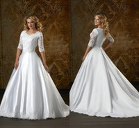 Wholesale 2014 Modest Sheer Long Sleeve Satin Ball Gown Wedding Dresses Sweetheart Neckline beaded Appliques Fall Winter Court Train Church Gowns Sale