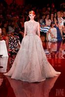 2014 Роскошные вечерние платья Elie Saab бисера блестками аппликации-Line Бато рукавов платья Поезд Sweep Вечер
