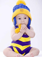 Unisex Winter Crochet Hats Hot Sale Toddler Baby Girls Boys Hat Earflaps Crochet Winter Hand Knitted Beanie Beret 5 Colors Free Shipping T9994