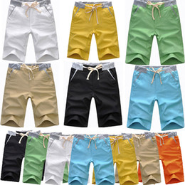 Wholesale Hot New Mens Casual Flax Pants Summer Patchwork Shorts Colors Size US XS XL Drop Shipping