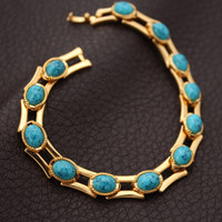 Wholesale New Fashion Turquoise Bracelets Bangles For Women K Real Gold Plated Jewelry Bangles Turkey Stone Fashion Jewelry MGC H5148