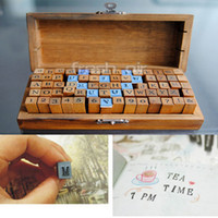 Wholesale Wooden Rubber Alphabet Letter Stamp Antique Uppercase Stamper Wood Box Gift Toy ZET