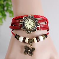 Wholesale Women Butterfly Pendant Genuine Leather Vintage Watch Fashion bracelet butterfly Classic Leat colors choice