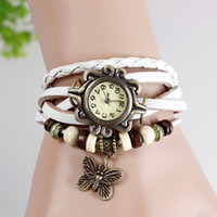 Casual Women's Auto Date Lot 10pcs Women Butterfly Pendant Genuine Leather Vintage Watch Fashion bracelet butterfly Classic Leat 7colors choice