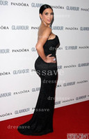 Reference Images Fashion Week Sweetheart 2014 Dressave Kim Kardashian Red Carpet Dresses Low Sweetheart V Neck Black Lace Backless Mermaid Celebrity Dresses BO2336