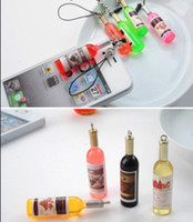 Wholesale 200 Mini Wine Beer Bottle Simulation Chain Mobile Phone Strap Pendant Cell Phone Charm Decoration Accessaries Novelty Christmas Gift
