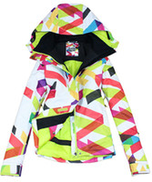 Wholesale 2013 quality guarantee waterproof breathable womens big wavy line snowboarding jacket ladies colorful ski jacket women anorak skiwear coat