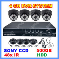 Wholesale 4 SONY CCD IR Weatherproof Outdoor Black Dome Camera CH H Full D1 DVR CCTV Video Home Security Systems LED Day amp Night Vision