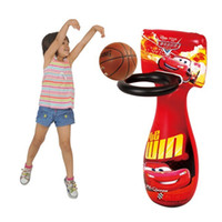 3 & 4 Years Red car PVC Baby Inflatable Basketball Stands Sport Indoor Outdoor Kids Toys Outdoor Fun Sports Inflator Tumbler High Quality Toddler Toy Christmas Gift