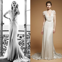 aspen wedding - Jenny Packham Aspen Sheath Chiffon Wedding Gowns with Cap Sleeve and Deep V Neck and Beaded Band Dhyz